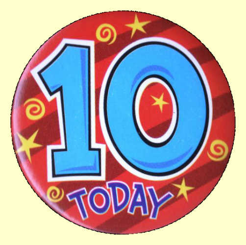 10th Birthday Badge - Red